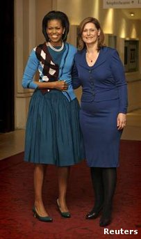 Seems to me the wife of the PM of Great Britain would have access to a full-length mirror.