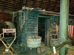 Kevin Costner's character lived in this hut (that's also his makeup chair)
