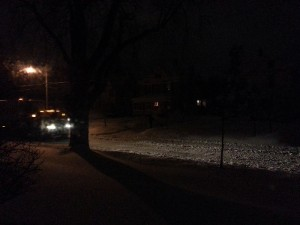 Hard to see, but that's my unplowed street at 5:30 a.m.