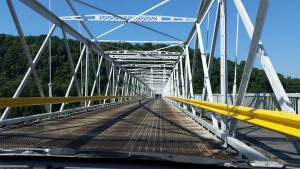 Built in 1905, and noisy as all get-out because of the steel grate surface, the Newell Bridge from Ohio into West Virginia cost 75 cents -- a dollar if you're going both ways.