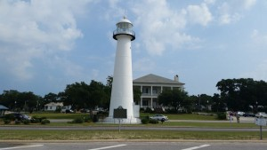 Built of cast iron in 1848, the Biloxi Lighthouse stands in the middle of a busy street.