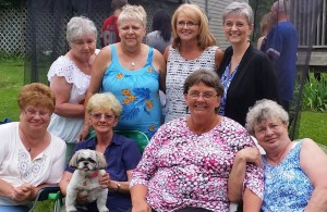 Three of us with our Crazy Aunts. Back row, L-R: Judy, Tina, Susie, me; Front row, L-R: Debbie, Janet, Mavis, Carol.