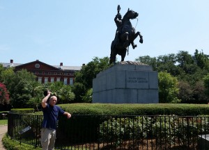 General Jackson and a statue.